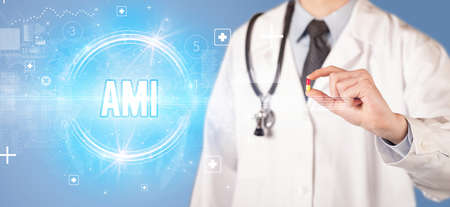 Close-up of a doctor giving you a pill with AMI abbreviation, virology concept