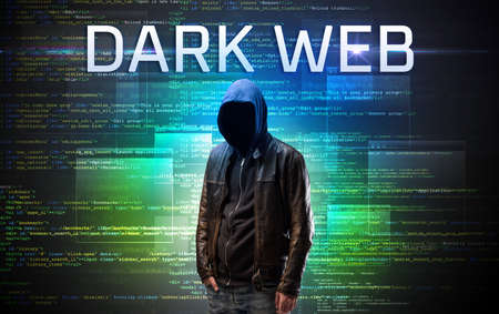 Faceless hacker with DARK WEB inscription on a binary code background