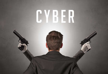 Rear view of a businessman with CYBER inscription, cyber security concept 版權商用圖片