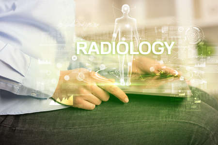 Electronic medical record with RADIOLOGY inscription, Medical technology concept