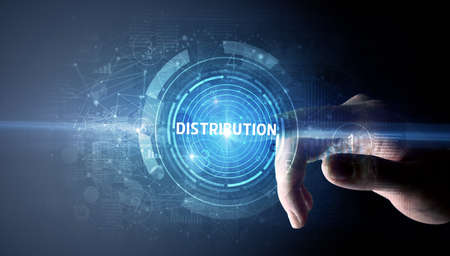 Hand touching DISTRIBUTION button, modern business technology concept Stockfoto