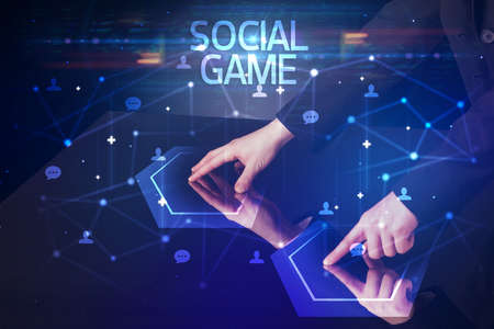 Navigating social networking with SOCIAL GAME inscription, new media concept