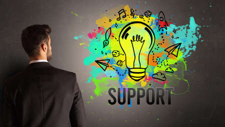 businessman drawing colorful light bulb with SUPPORT inscription on textured concrete wall, new business idea concept 版權商用圖片