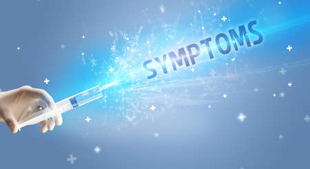 Syringe, medical injection in hand with SYMPTOMS inscription, medical antidote concept