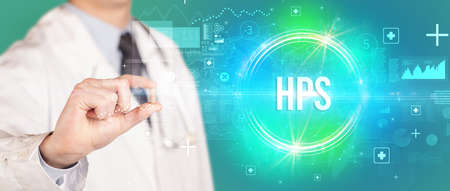 Close-up of a doctor giving you a pill with HPS abbreviation, virology concept