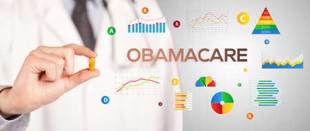 Nutritionist giving you a pill with OBAMACARE inscription, healthy lifestyle concept