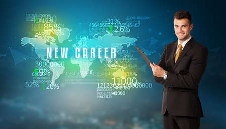 Businessman in front of a decision with NEW CAREER inscription, business concept 版權商用圖片