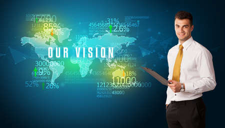 Businessman in front of a decision with OUR VISION inscription, business concept