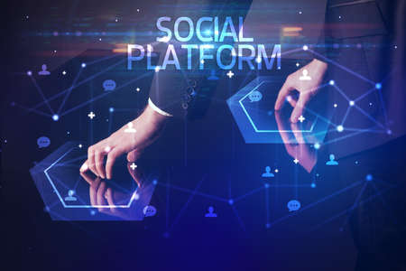 Navigating social networking with SOCIAL PLATFORM inscription, new media concept