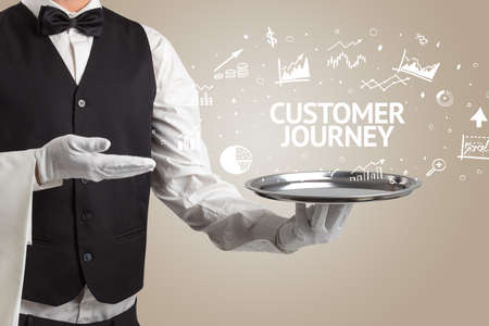 Waiter serving business idea concept with CUSTOMER JOURNEY inscription