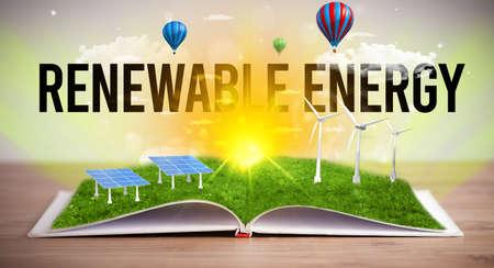 Open book with RENEWABLE ENERGY inscription, renewable energy concept