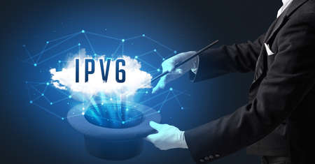 Magician is showing magic trick with IPV6 abbreviation, modern tech concept
