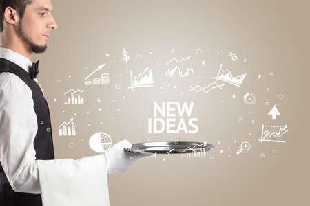 Waiter serving business idea concept with NEW IDEAS inscription