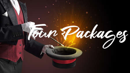 Magician is showing magic trick with Tour Packages inscription, traveling concept