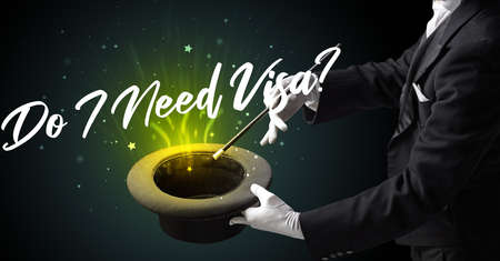 Magician is showing magic trick with Do I Need Visa? inscription, traveling concept