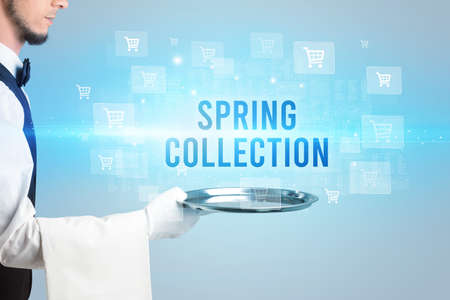 Waiter serving SPRING COLLECTION inscription, online shopping concept