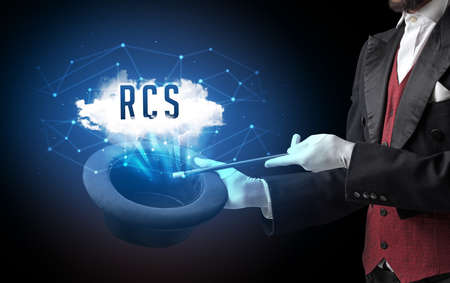 Magician is showing magic trick with RCS abbreviation, modern tech concept