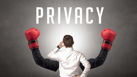 Rear view of a businessman with PRIVACY inscription, cyber security concept Zdjęcie Seryjne