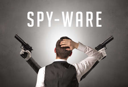 Rear view of a businessman with SPY-WARE inscription, cyber security concept