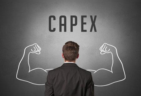 Rear view of a businessman with CAPEX inscription, powerfull business concept Zdjęcie Seryjne