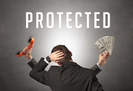 Rear view of a businessman with PROTECTED inscription, cyber security concept