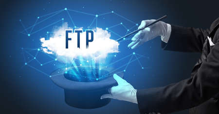 Magician is showing magic trick with FTP abbreviation, modern tech concept