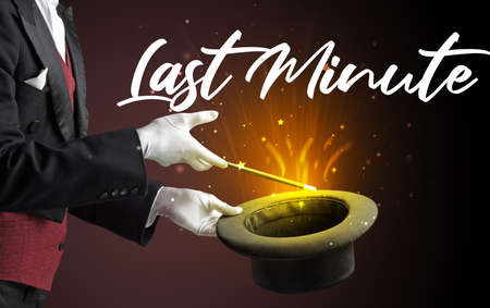 Magician is showing magic trick with Last Minute inscription, traveling concept