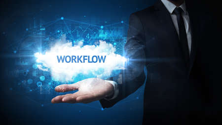 Hand of Businessman holding WORKFLOW inscription, successful business concept