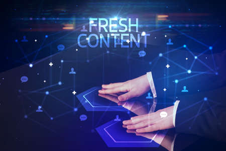 Navigating social networking with FRESH CONTENT inscription, new media concept