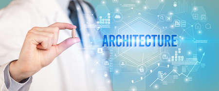 Doctor giving a pill with ARCHITECTURE inscription, new technology solution concept