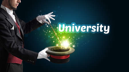 Magician is showing magic trick with University inscription, educational concept