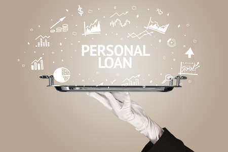 Waiter serving business idea concept with PERSONAL LOAN inscription