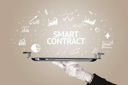 Waiter serving business idea concept with SMART CONTRACT inscription