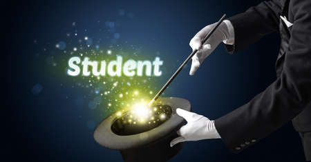 Magician is showing magic trick with Student inscription, educational concept