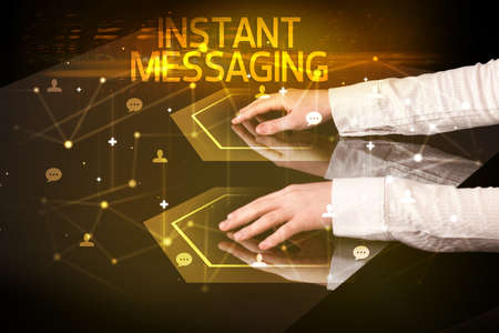 Navigating social networking with INSTANT MESSAGING inscription, new media concept