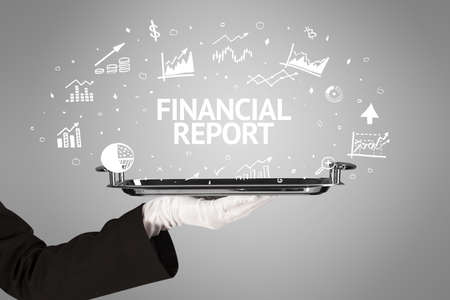 Waiter serving business idea concept with FINANCIAL REPORT inscription