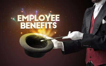 Illusionist is showing magic trick with EMPLOYEE BENEFITS inscription, new business model concept