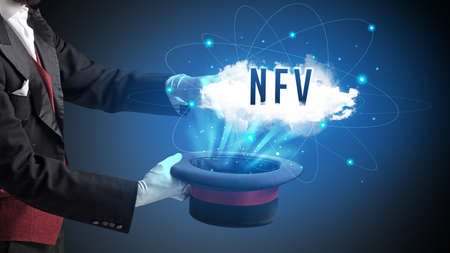 Magician is showing magic trick with NFV abbreviation, modern tech concept