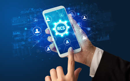 Hand using smartphone with technology concept