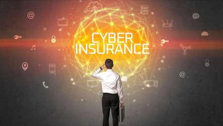 Rear view of a businessman, online security concept Reklamní fotografie