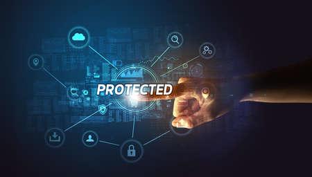 Hand touching cybersecurity button concept Reklamní fotografie