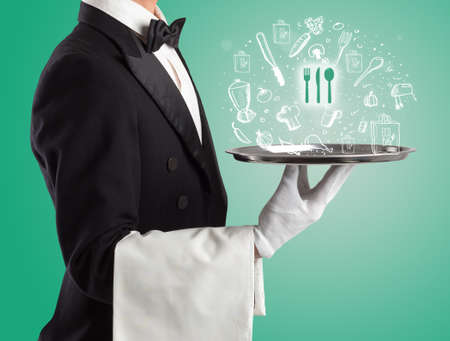 Waiter holding silver tray with food icons above