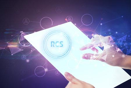 Hand holdig futuristic tablet concept Stock fotó