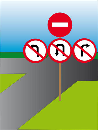interdiction: Traffic signs which forbid movement in the chosen direction.