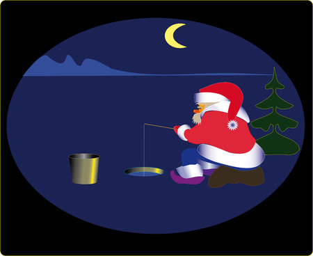 night table: Late at night, Santa fishes in the big reservoir. Fish for the Christmas table.