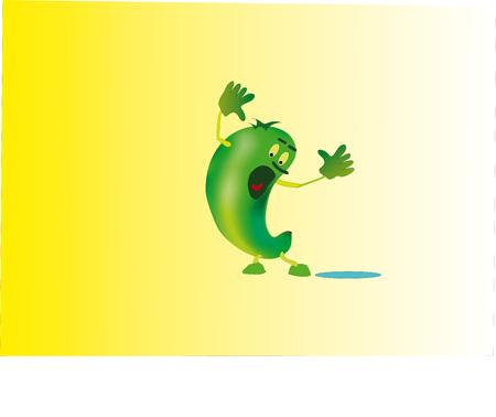opened mouth: El peque�o hombrecito verde muy similar a un pepino, se indign�. Vectores