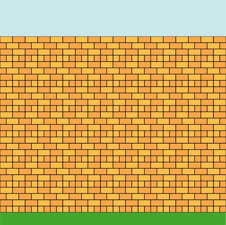 Background. High wall constructed of a brick of two colours. Vector
