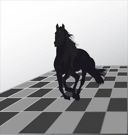 chess knight: S�mbolo del ataque a la oponente a un tablero de ajedrez un caballo negro. Vectores