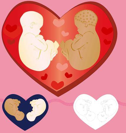 Dos ni�os con amor, rodeado de todos los familiares. Ejemplos de ejecuci�n.