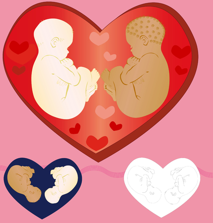 Two babies surrounded with love of all relatives. Execution examples.
